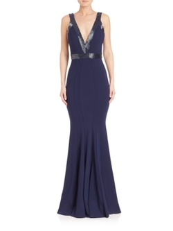 Jovani  - Ponte Sequin-Trim Gown