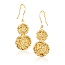 All is good - Golden Drusy Double Drop Earrings