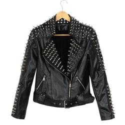 Ilishop - Power Studded Shoulder Zip Biker Jacket