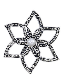Lord & Taylor - Sterling Silver and Marcasite Flower Brooch
