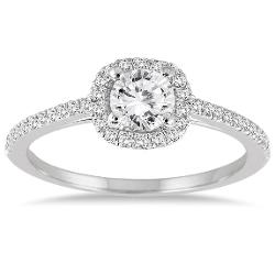 Szul  - 3/4 Carat Diamond Halo Engagement Ring in 14K White Gold