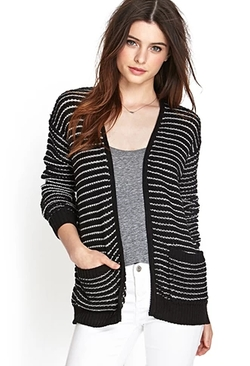 Forever 21 - Textured Knit Striped Cardigan