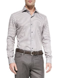 Ermenegildo Zegna  - Multi-Striped Woven Sport Shirt