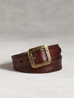 John Varvatos - Edge Stamped Leather Belt