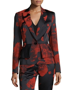 Escada  - Floral-Print One-Button Peplum Jacket