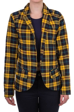 Hidden Fashion  - Womens Tartan Plaid Open Front Collared Blazer