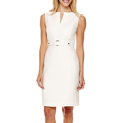Chelsea Rose - Split-Neck Buckle-Front Sheath Dress