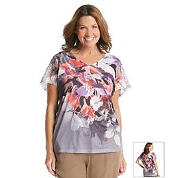 Laura Ashley - Plus Size Purple Rain Floral Top