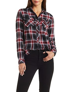 Charlotte Russe - Plaid Flannel Button-Up Shirt