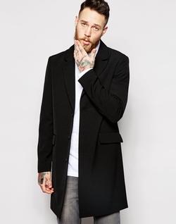 Asos - Lightweight Overcoat In Black