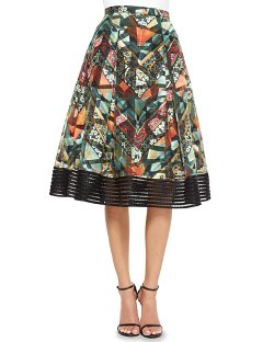 Noir Sachin & Babi - Tribal-Print Midi Ball Skirt