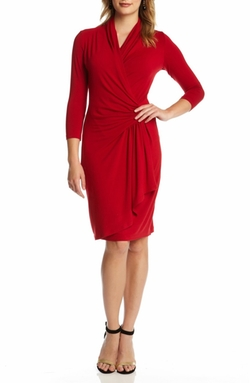 Karen Kane - Cascade Faux Wrap Dress
