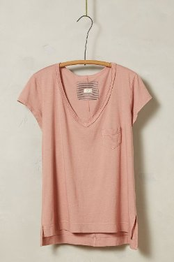 Anthropologie - Rolled V-Neck Tee