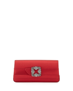 Manolo Blahnik - Gothisi Satin Buckle Clutch Bag