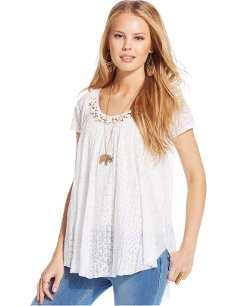 Jessica Simpson  - Luanne Burnout Peasant Top