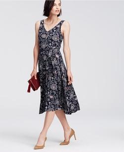 Ann Taylor - Petite Paisley Print Belted Jersey Midi Dress