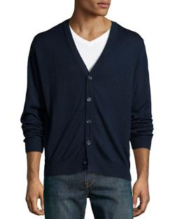 Neiman Marcus -  V-Neck Wool-Blend Cardigan