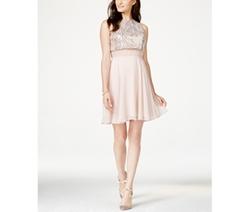 Speechless  - Sequin Illusion Waist Popover Dress