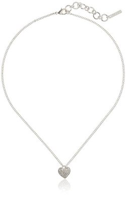 """Nine West  - """"Luxe Locket"""" Silver-Tone Crystal Heart Pendant Necklace"""
