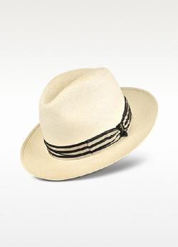 BORSALINO - Stripe Band Real Panama Hat