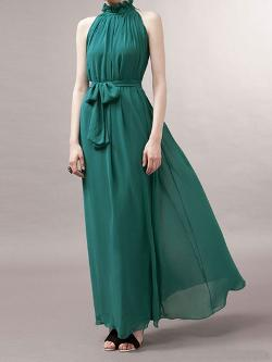 Choies - Green Maxi Evening Dress In Chiffon