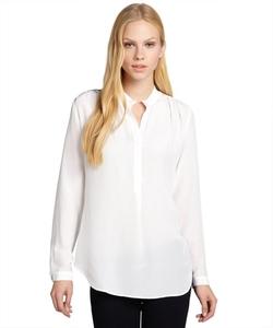 Fifteen-Twenty  - White Shimmer Silk Deep V-Neck Blouse