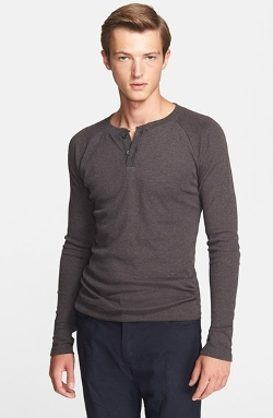 Billy Reid - Mélange Long Sleeve Thermal Henley Shirt