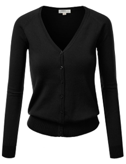 J. Tomson - Womens V-Neck Long Sleeve Cardigan