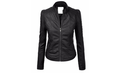 Come Together California  - Womens Dressy Vegan Leather Biker Jacket