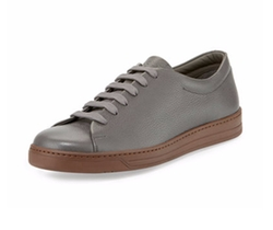 Prada - Stamped Leather Low-Top Sneakers