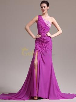 Goldwo - Beaded Two Toned Venus Cut Chiffon Trumpet Prom Dress