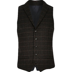 River Island - Check Wool-Blend Slim Vest