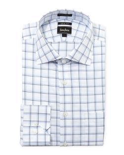 Neiman Marcus  - Regular-Finish Trim-Fit Plaid Dress Shirt