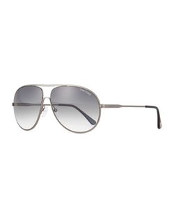 Tom FordT - Cliff Shiny Metal Aviator Sunglasses