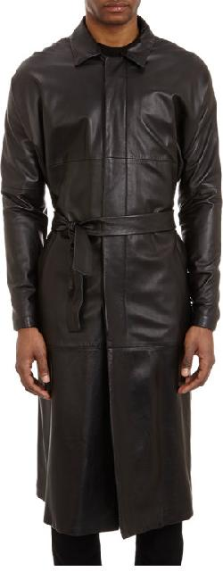 JIL SANDER  - Belted Leather Overcoat