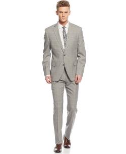Tallia - Windowpane Slim-Fit Suit