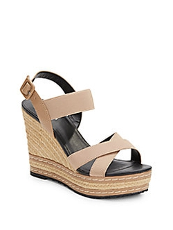 Charles By Charles David  - Thrice Faux Leather-Paneled Wedges