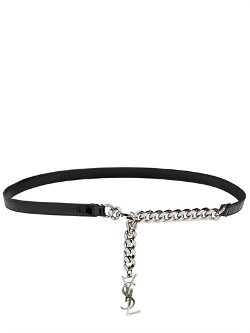 Saint Laurent  - Chain & Embossed Leather Belt