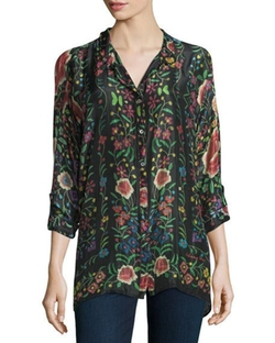 Johnny Was Collection  - Emby Button-Front Floral-Print Blouse