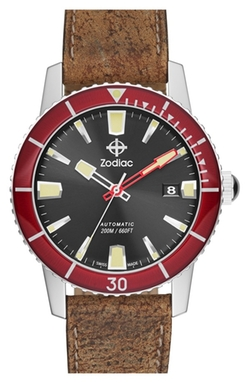 Zodiac - Sea Wolf Automatic Leather Strap Watch