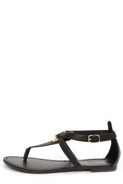 Silvia - Black and Gold Thong Sandals