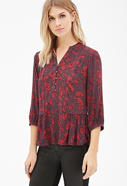 Forever21 - Abstract Print Peasant Blouse