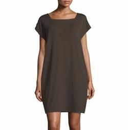 Eileen Fisher - Short-Sleeve Square-Neck Shift Dress