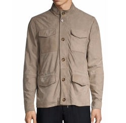 Eleventy  - Perforated Suede Jacket