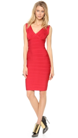 Herve Leger  - Karima V Neck Dress