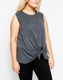 Asos Curve - Knot Front Washed Tank Top