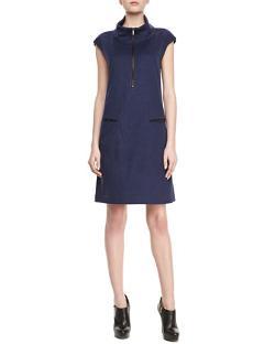 Lafayette 148 New York - Milan Leather-Trim Dress