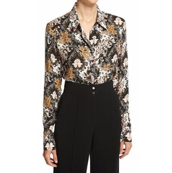 A.L.C. - Scott Long-Sleeve Abstract Silk Blouse