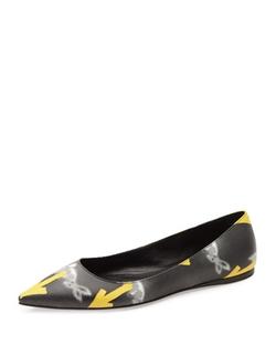 Prada  - Graphic-Arrow Printed Ballerina Flat Shoes