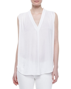 Vince - V-Neck Ruched-Shoulder Blouse